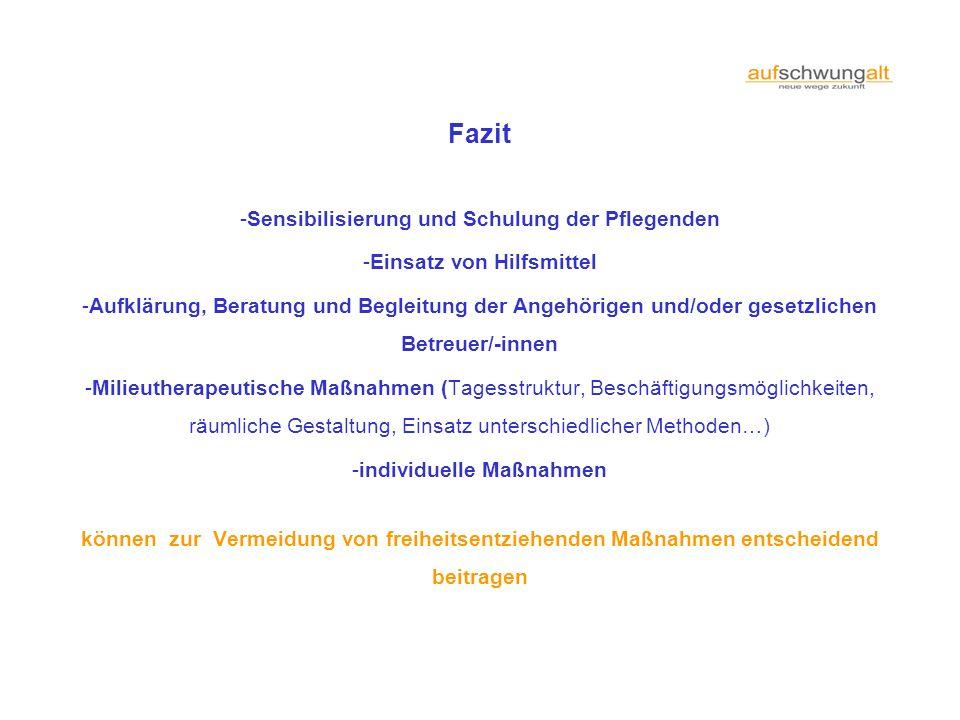 Fazit -Sensibilisierung und Schulung der Pflegenden -Einsatz von Hilfsmittel -Aufklärung, Beratung und Begleitung der Angehörigen und/oder gesetzliche