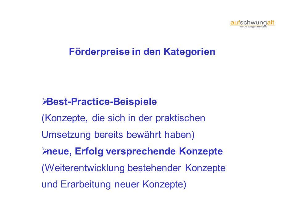 Förderpreise in den Kategorien Best-Practice-Beispiele (Konzepte, die sich in der praktischen Umsetzung bereits bewährt haben) neue, Erfolg verspreche