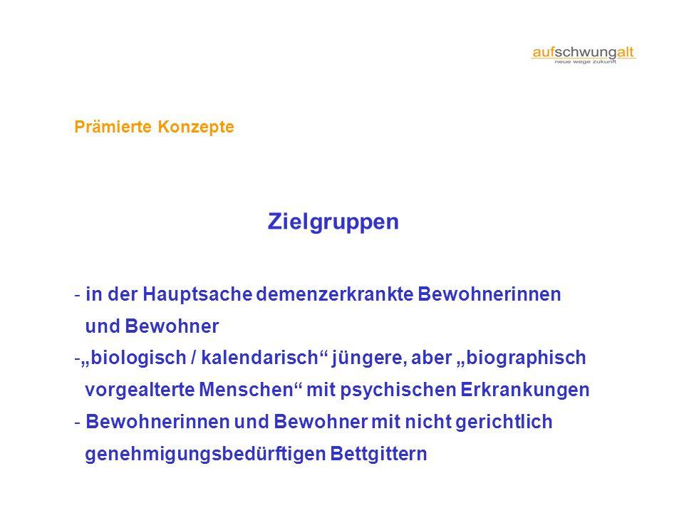 Prämierte Konzepte Zielgruppen - in der Hauptsache demenzerkrankte Bewohnerinnen und Bewohner -biologisch / kalendarisch jüngere, aber biographisch vo