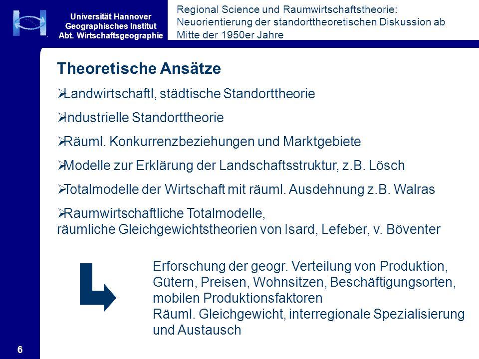 Universität Hannover Geographisches Institut Abt. Wirtschaftsgeographie 6 Theoretische Ansätze Landwirtschaftl, städtische Standorttheorie Industriell