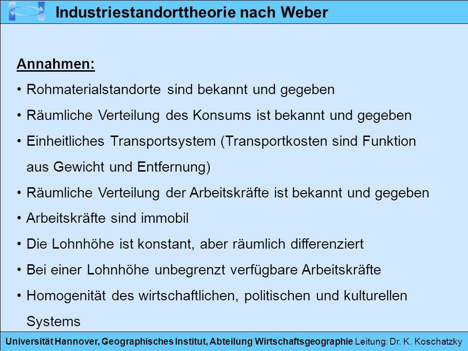 Universität Hannover, Geographisches Institut, Abteilung Wirtschaftsgeographie Leitung: Dr. K. Koschatzky Industriestandorttheorie nach Weber Annahmen