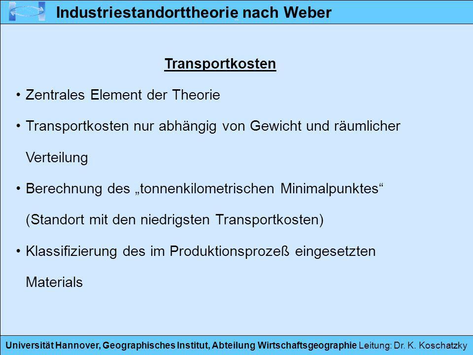 Universität Hannover, Geographisches Institut, Abteilung Wirtschaftsgeographie Leitung: Dr. K. Koschatzky Transportkosten Zentrales Element der Theori