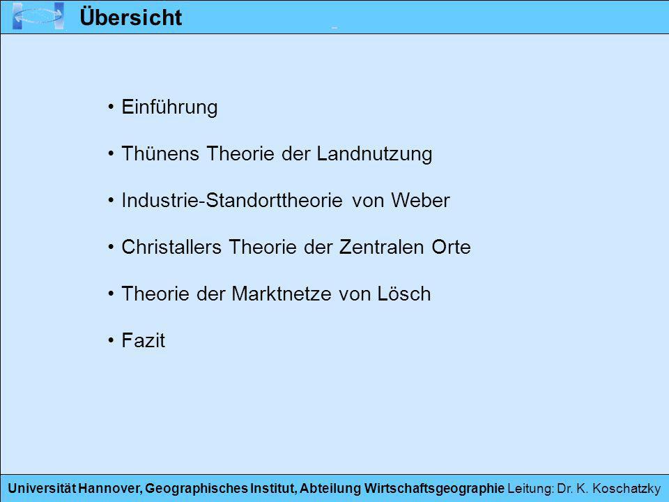 Universität Hannover, Geographisches Institut, Abteilung Wirtschaftsgeographie Leitung: Dr. K. Koschatzky Übersicht Einführung Thünens Theorie der Lan