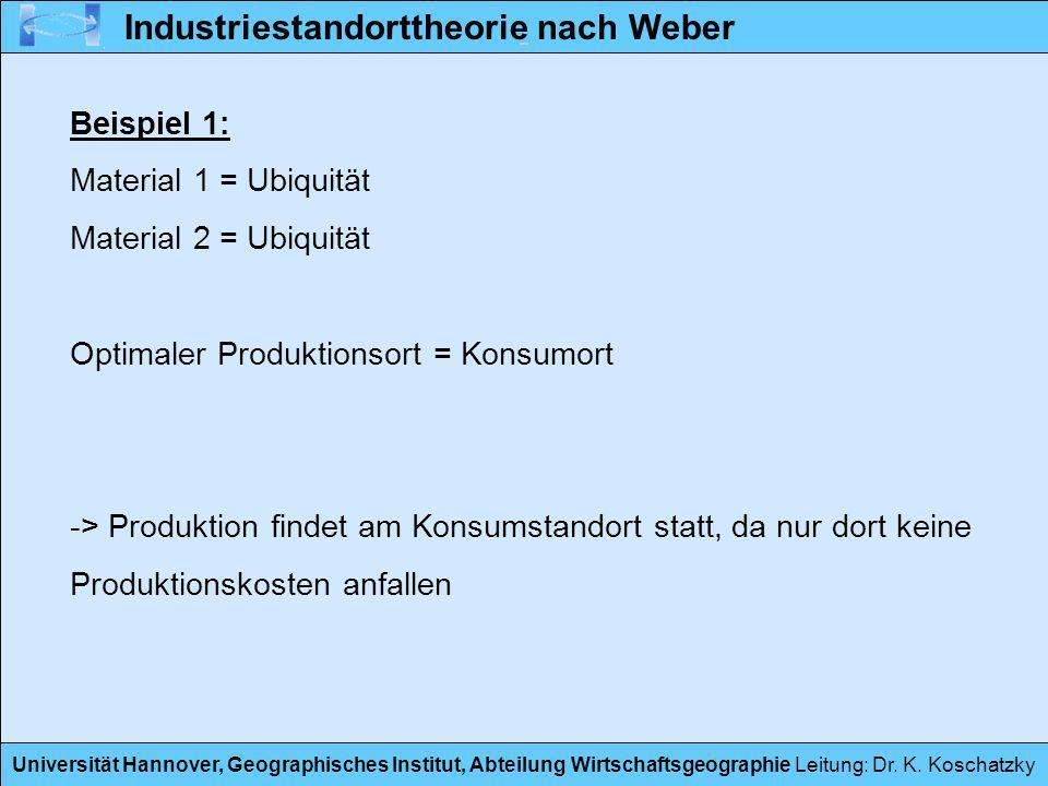 Universität Hannover, Geographisches Institut, Abteilung Wirtschaftsgeographie Leitung: Dr. K. Koschatzky Beispiel 1: Material 1 = Ubiquität Material