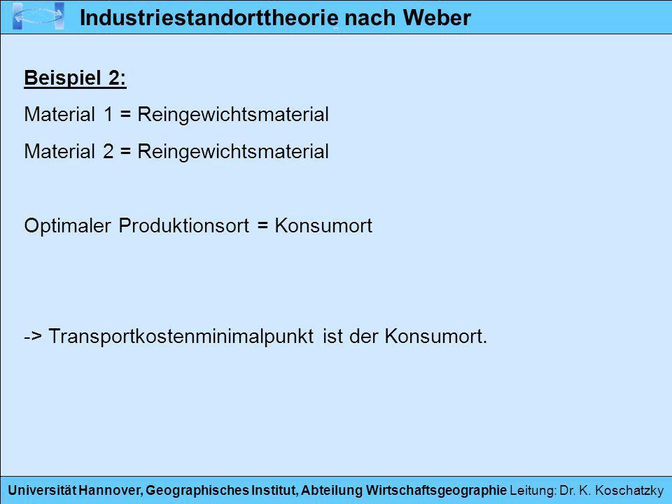 Universität Hannover, Geographisches Institut, Abteilung Wirtschaftsgeographie Leitung: Dr. K. Koschatzky Beispiel 2: Material 1 = Reingewichtsmateria