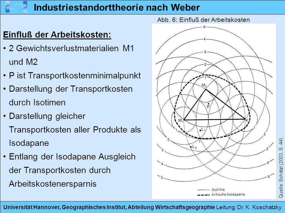 Universität Hannover, Geographisches Institut, Abteilung Wirtschaftsgeographie Leitung: Dr. K. Koschatzky Industriestandorttheorie nach Weber Einfluß
