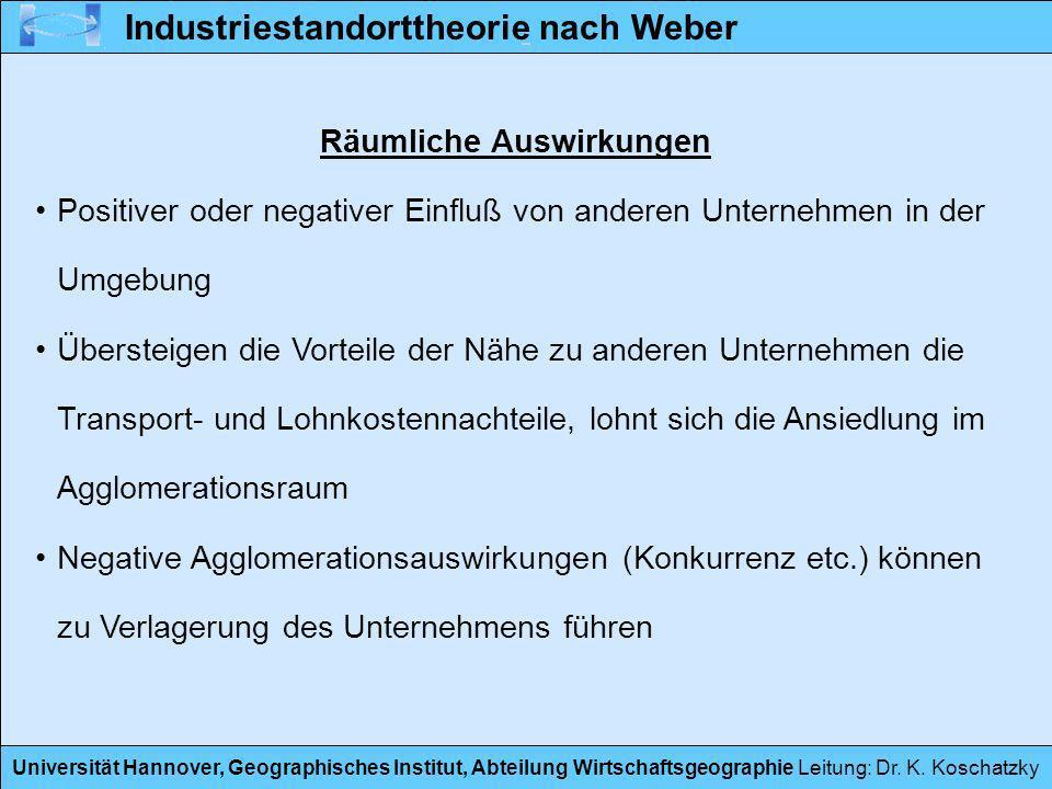 Universität Hannover, Geographisches Institut, Abteilung Wirtschaftsgeographie Leitung: Dr. K. Koschatzky Räumliche Auswirkungen Positiver oder negati