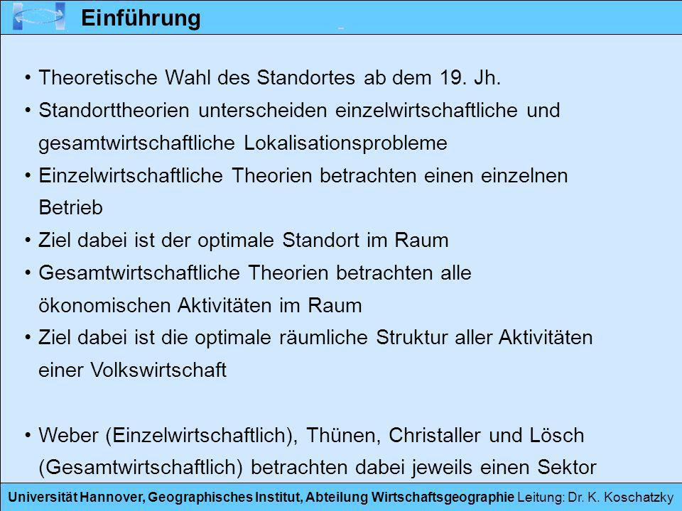 Universität Hannover, Geographisches Institut, Abteilung Wirtschaftsgeographie Leitung: Dr. K. Koschatzky Einführung Theoretische Wahl des Standortes