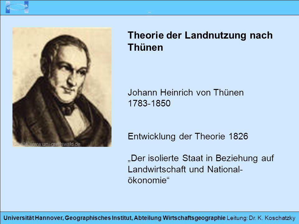 Universität Hannover, Geographisches Institut, Abteilung Wirtschaftsgeographie Leitung: Dr. K. Koschatzky Theorie der Landnutzung nach Thünen Johann H