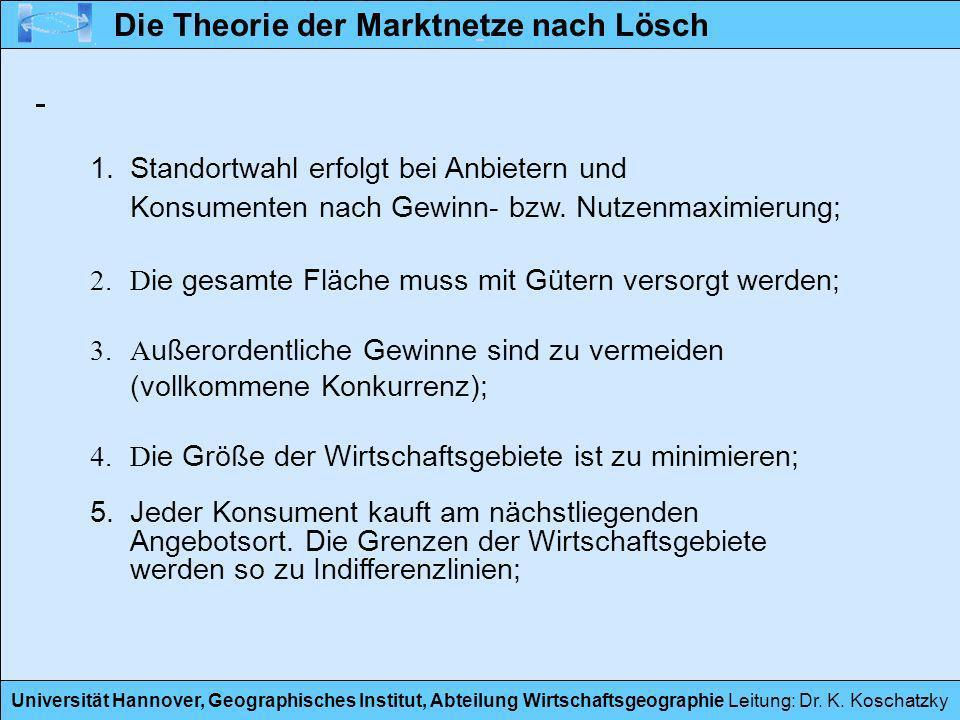 Universität Hannover, Geographisches Institut, Abteilung Wirtschaftsgeographie Leitung: Dr. K. Koschatzky 1.Standortwahl erfolgt bei Anbietern und Kon