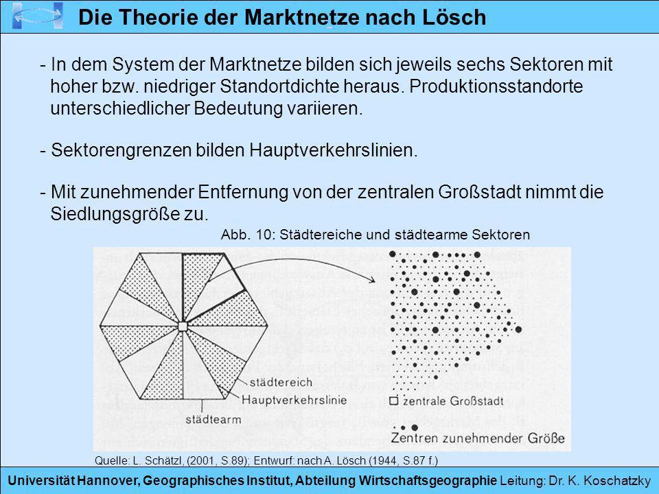 Universität Hannover, Geographisches Institut, Abteilung Wirtschaftsgeographie Leitung: Dr. K. Koschatzky - In dem System der Marktnetze bilden sich j
