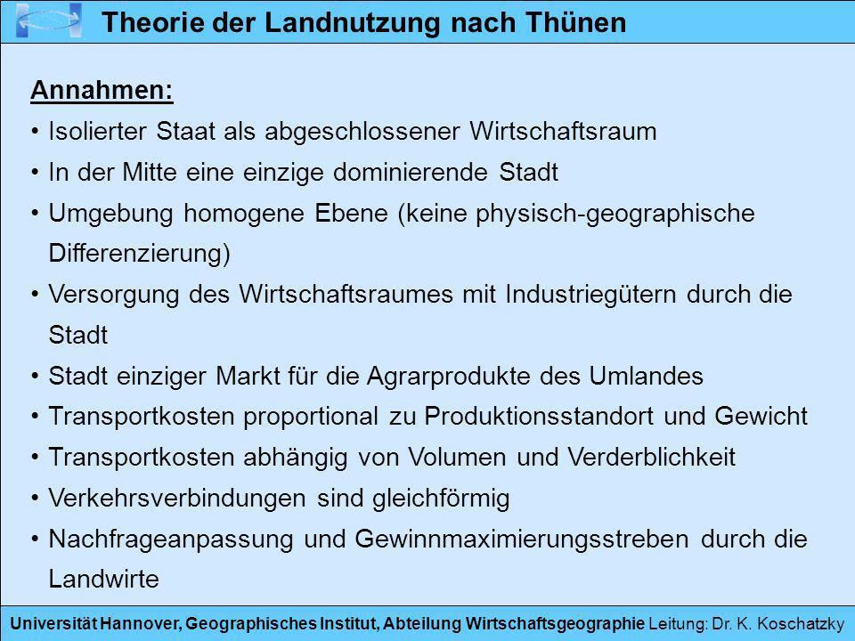 Universität Hannover, Geographisches Institut, Abteilung Wirtschaftsgeographie Leitung: Dr. K. Koschatzky Theorie der Landnutzung nach Thünen Annahmen