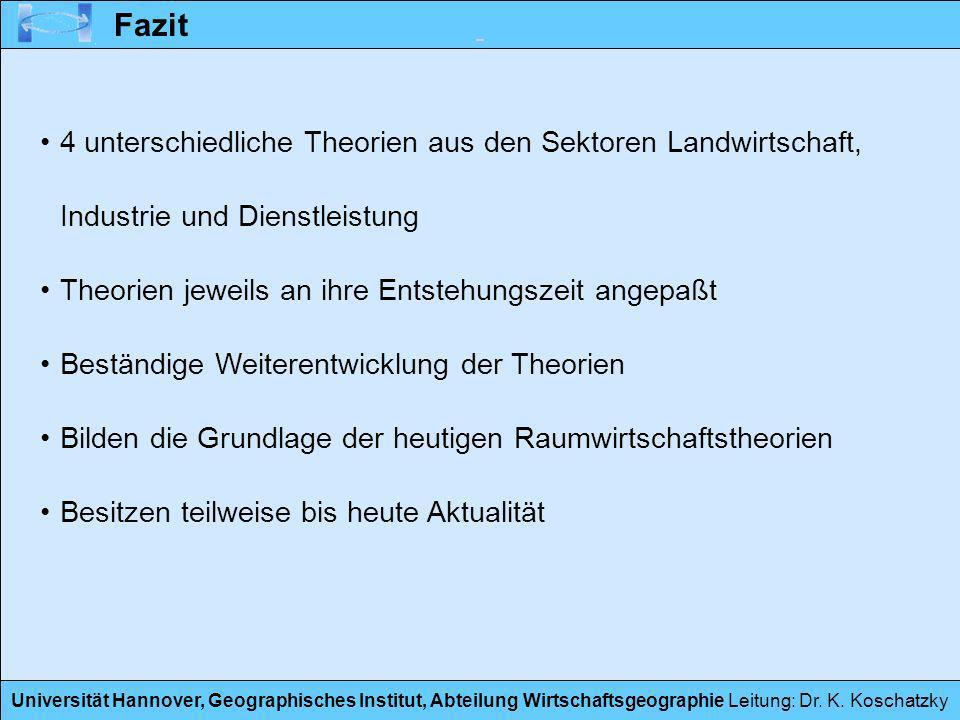 Universität Hannover, Geographisches Institut, Abteilung Wirtschaftsgeographie Leitung: Dr. K. Koschatzky Fazit 4 unterschiedliche Theorien aus den Se