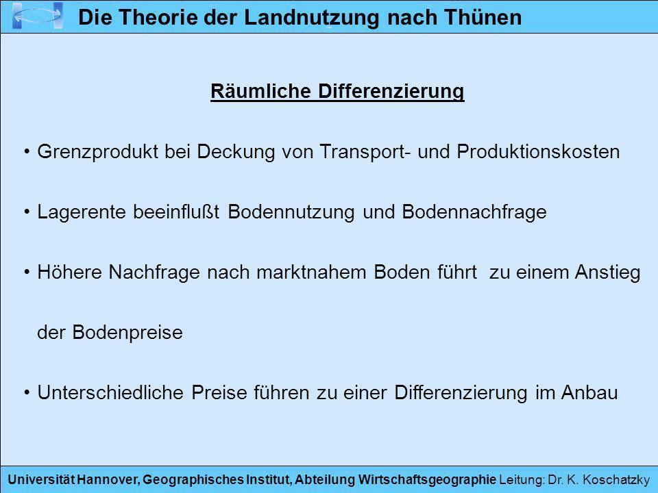 Universität Hannover, Geographisches Institut, Abteilung Wirtschaftsgeographie Leitung: Dr. K. Koschatzky Räumliche Differenzierung Grenzprodukt bei D
