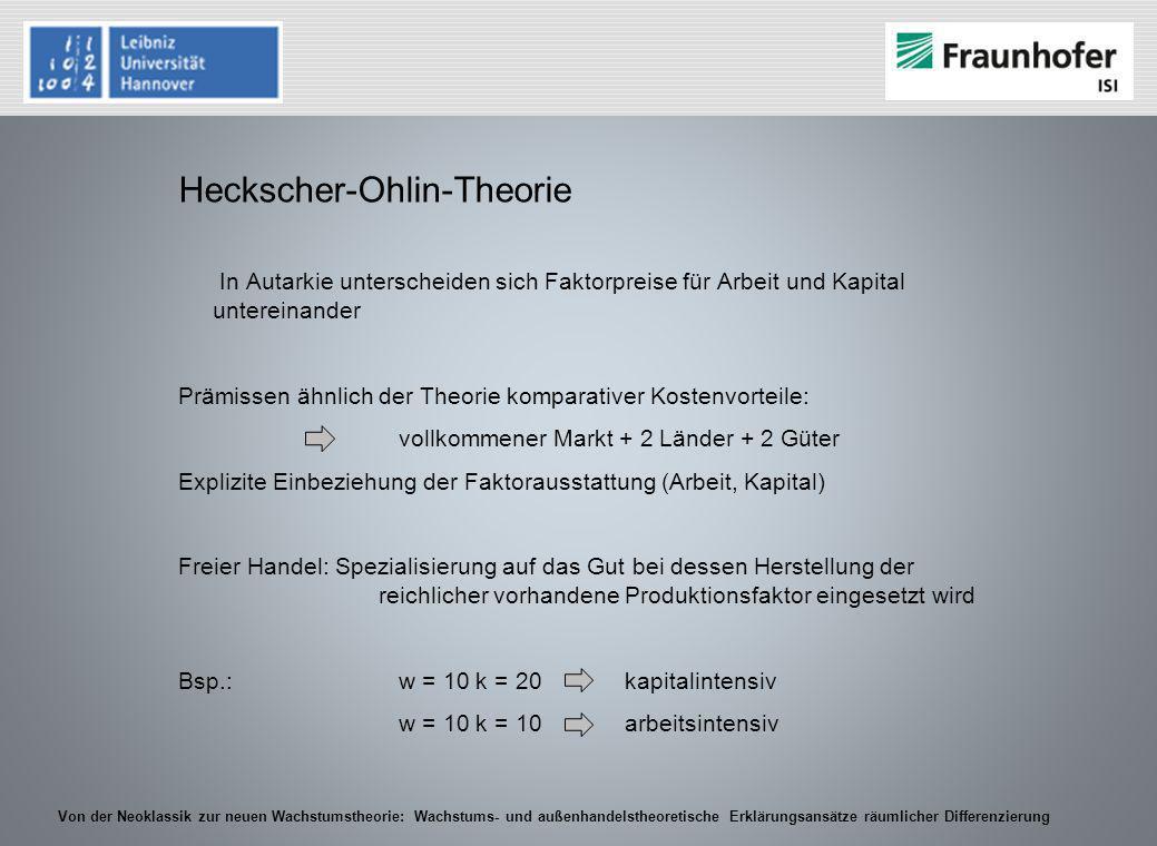 Von der Neoklassik zur neuen Wachstumstheorie: Wachstums- und außenhandelstheoretische Erklärungsansätze räumlicher Differenzierung Heckscher-Ohlin-Th