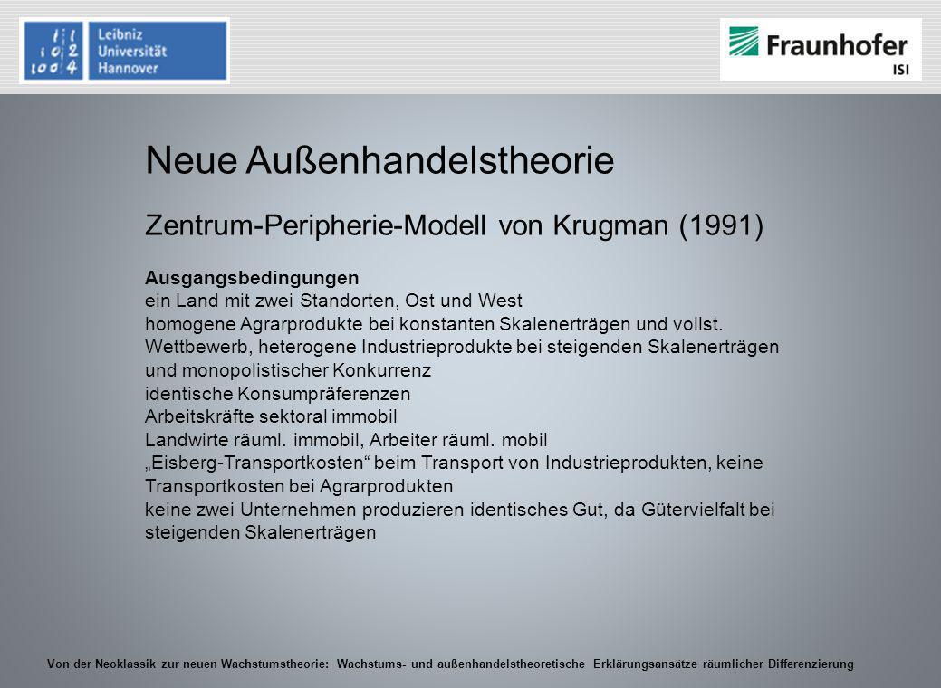Von der Neoklassik zur neuen Wachstumstheorie: Wachstums- und außenhandelstheoretische Erklärungsansätze räumlicher Differenzierung Neue Außenhandelst