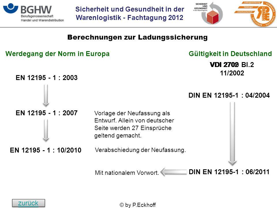 Sicherheit und Gesundheit in der Warenlogistik - Fachtagung 2012 © by P.Eckhoff EN 12195 - 1 : 2003 DIN EN 12195-1 : 04/2004 EN 12195 - 1 : 2007 Vorla