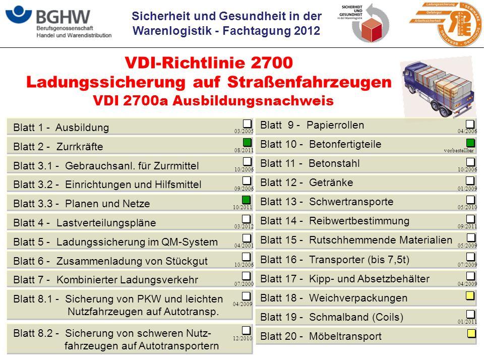 Sicherheit und Gesundheit in der Warenlogistik - Fachtagung 2012 © by P.Eckhoff VDI 2700a Ausbildungsnachweis VDI-Richtlinie 2700 Ladungssicherung auf