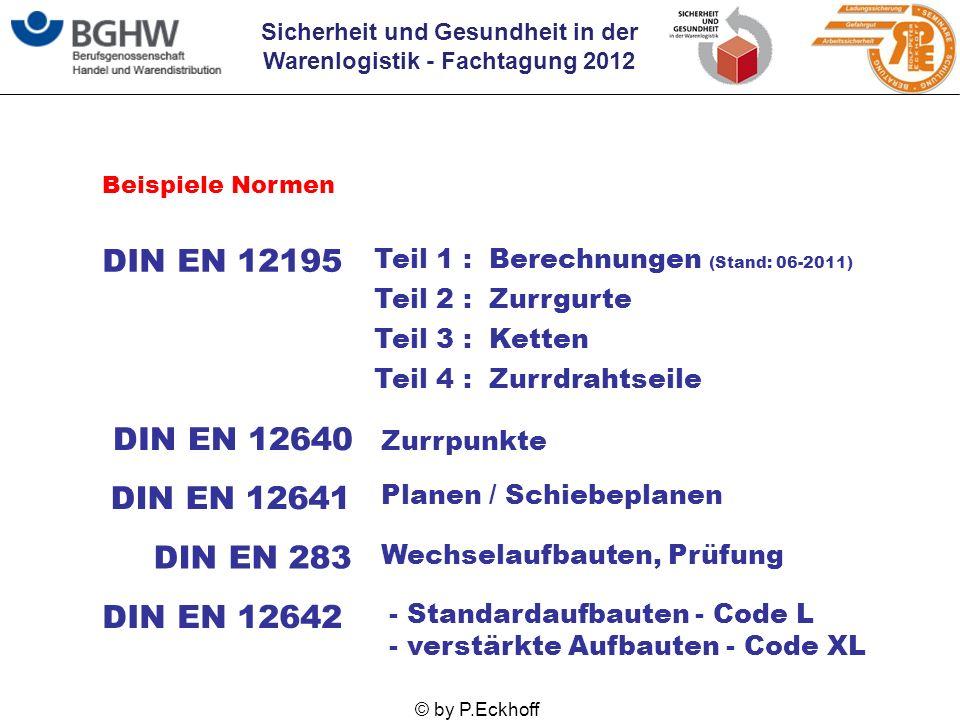 Sicherheit und Gesundheit in der Warenlogistik - Fachtagung 2012 © by P.Eckhoff Beispiele Normen DIN EN 12195 Teil 1 : Berechnungen (Stand: 06-2011) T