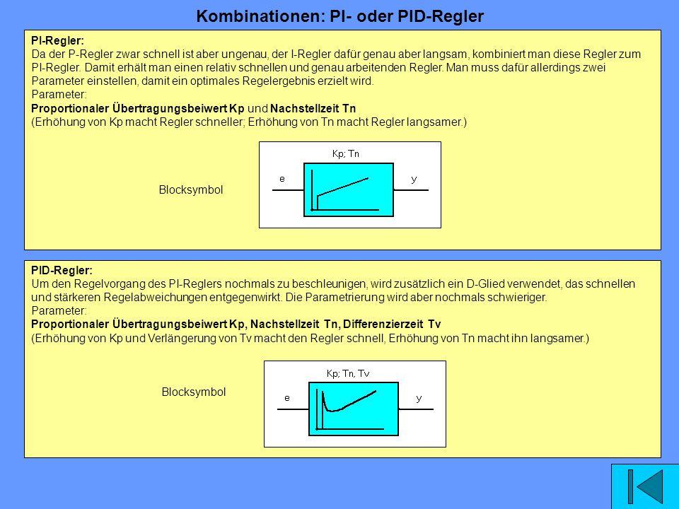 PI-Regler: Da der P-Regler zwar schnell ist aber ungenau, der I-Regler dafür genau aber langsam, kombiniert man diese Regler zum PI-Regler. Damit erhä
