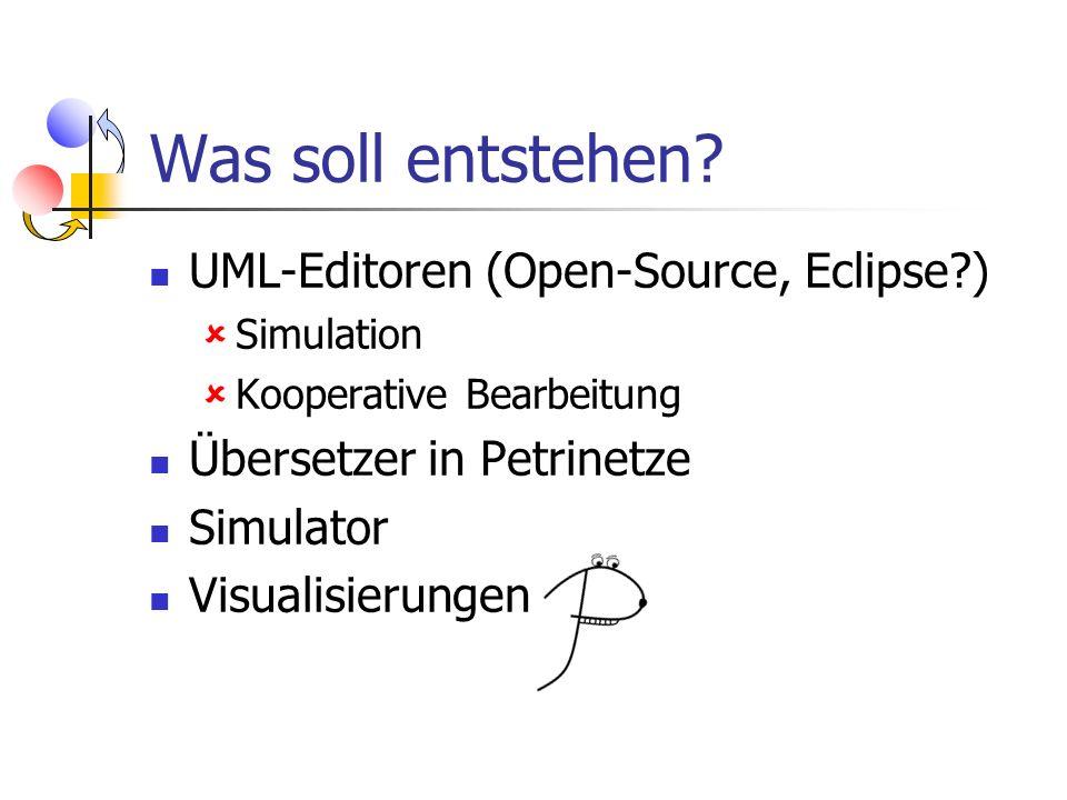 Was soll entstehen? UML-Editoren (Open-Source, Eclipse?) Simulation Kooperative Bearbeitung Übersetzer in Petrinetze Simulator Visualisierungen
