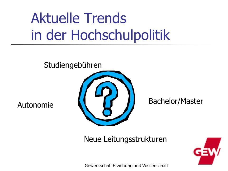 Gewerkschaft Erziehung und Wissenschaft Aktuelle Trends in der Hochschulpolitik Studiengebühren Bachelor/Master Autonomie Neue Leitungsstrukturen