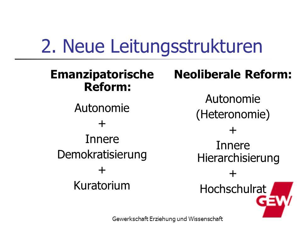 Gewerkschaft Erziehung und Wissenschaft 2. Neue Leitungsstrukturen Emanzipatorische Reform: Autonomie + Innere Demokratisierung + Kuratorium Neolibera