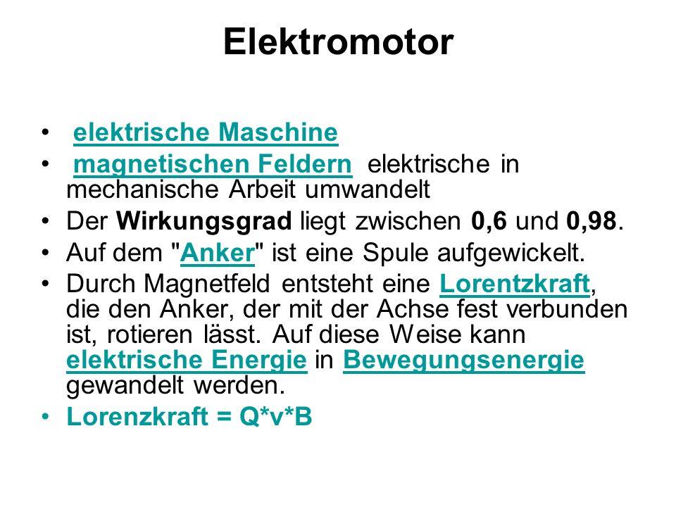 Elektromotor elektrische Maschine magnetischen Feldern elektrische in mechanische Arbeit umwandeltmagnetischen Feldern Der Wirkungsgrad liegt zwischen