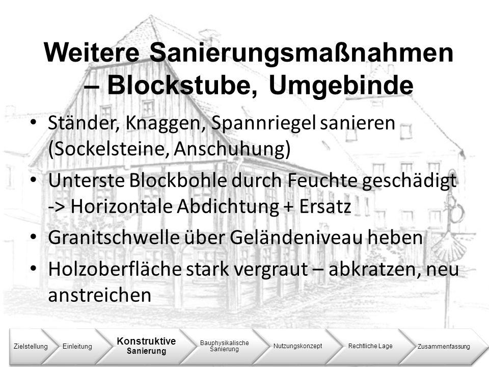 Weitere Sanierungsmaßnahmen – Blockstube, Umgebinde ZielstellungEinleitung Konstruktive Sanierung Bauphysikalische Sanierung NutzungskonzeptRechtliche