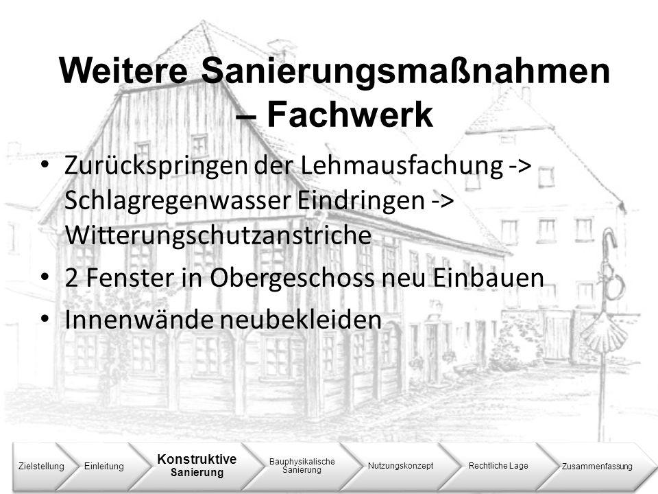 Weitere Sanierungsmaßnahmen – Fachwerk ZielstellungEinleitung Konstruktive Sanierung Bauphysikalische Sanierung NutzungskonzeptRechtliche LageZusammen