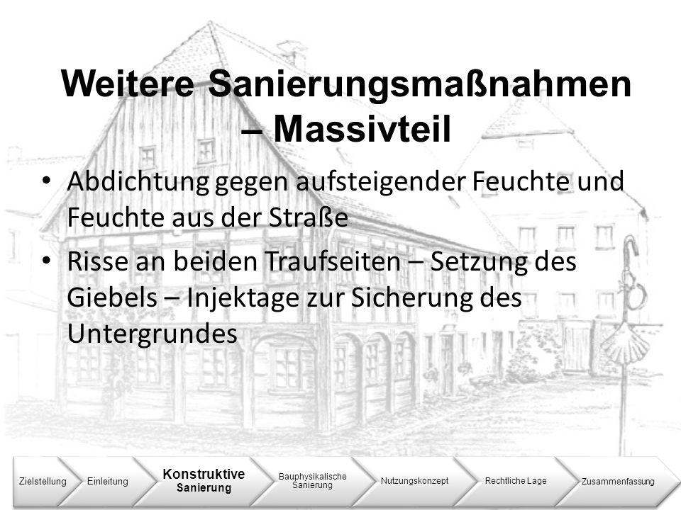 Weitere Sanierungsmaßnahmen – Massivteil ZielstellungEinleitung Konstruktive Sanierung Bauphysikalische Sanierung NutzungskonzeptRechtliche LageZusamm