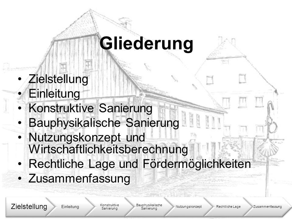 Gliederung Zielstellung Einleitung Konstruktive Sanierung Bauphysikalische Sanierung Nutzungskonzept und Wirtschaftlichkeitsberechnung Rechtliche Lage