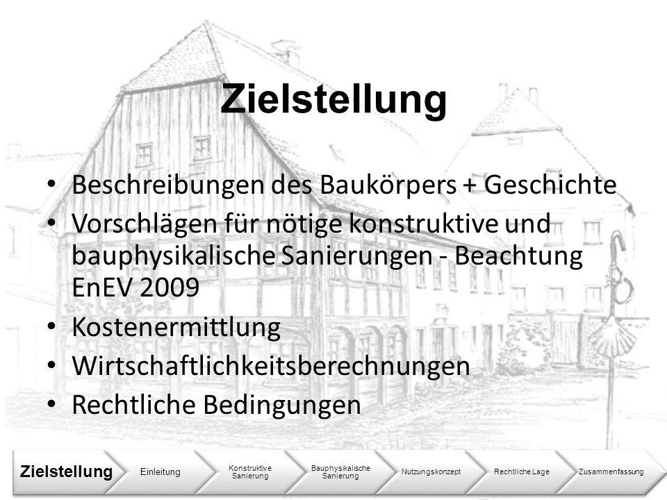 Zielstellung Beschreibungen des Baukörpers + Geschichte Vorschlägen für nötige konstruktive und bauphysikalische Sanierungen - Beachtung EnEV 2009 Kos