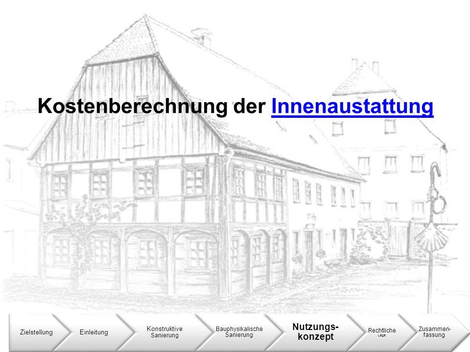 Kostenberechnung der InnenaustattungInnenaustattung ZielstellungEinleitung Konstruktive Sanierung Bauphysikalische Sanierung Nutzungs- konzept Rechtli