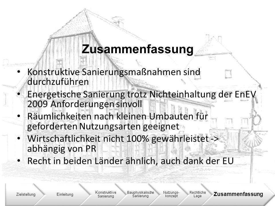 Zusammenfassung ZielstellungEinleitung Konstruktive Sanierung Bauphysikalische Sanierung Nutzungs- konzept Rechtliche Lage Zusammenfassung Konstruktiv