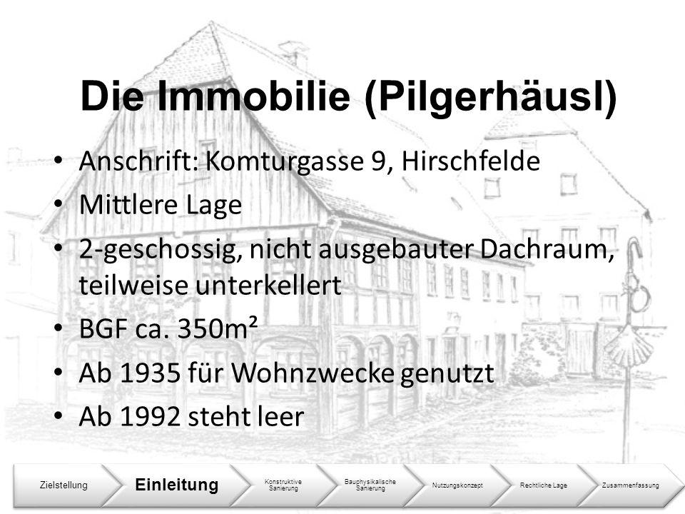 Die Immobilie (Pilgerhäusl) Anschrift: Komturgasse 9, Hirschfelde Mittlere Lage 2-geschossig, nicht ausgebauter Dachraum, teilweise unterkellert BGF c