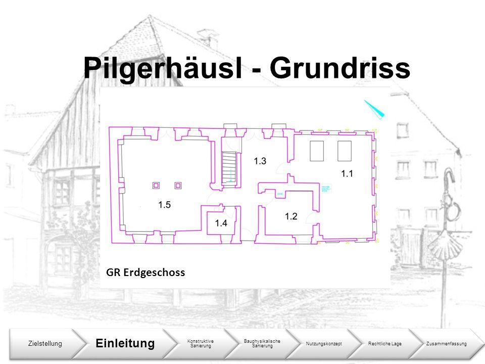 Pilgerhäusl - Grundriss Zielstellung Einleitung Konstruktive Sanierung Bauphysikalische Sanierung NutzungskonzeptRechtliche LageZusammenfassung GR Erd