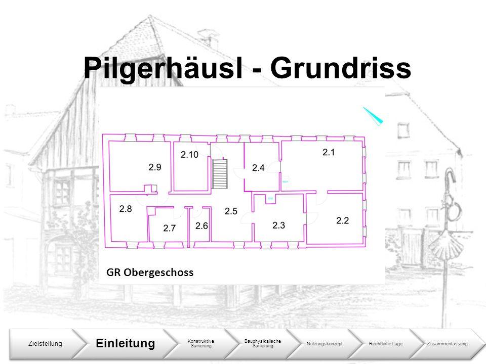 Pilgerhäusl - Grundriss Zielstellung Einleitung Konstruktive Sanierung Bauphysikalische Sanierung NutzungskonzeptRechtliche LageZusammenfassung GR Obe