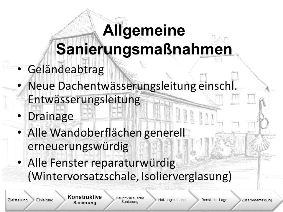 Allgemeine Sanierungsmaßnahmen ZielstellungEinleitung Konstruktive Sanierung Bauphysikalische Sanierung NutzungskonzeptRechtliche LageZusammenfassung