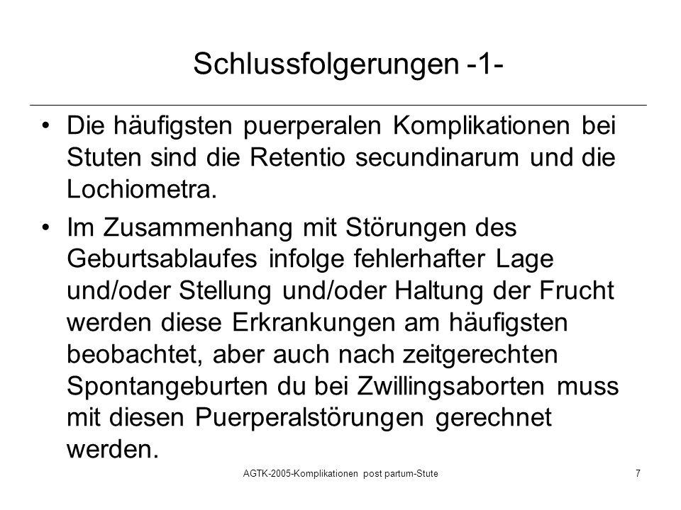 AGTK-2005-Komplikationen post partum-Stute8 Schlussfolgerungen -2- Die Retentio secundinarum und die Lochiometra stellen bei rechtzeitiger Erkennung und Behandlung mit niedrigen Komplikationsraten (quo ad vitam) behaftete Erkrankungen mit Puerperium von Stuten dar.