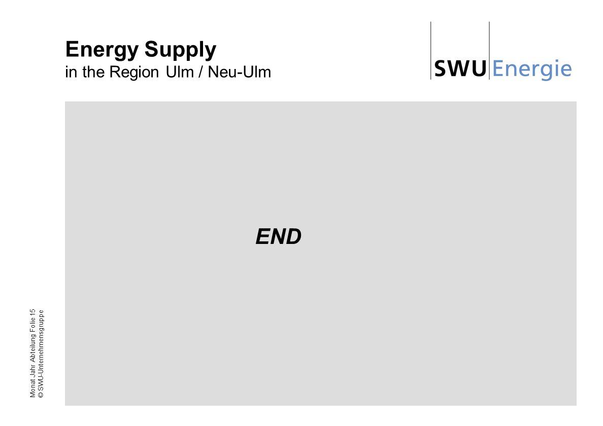 Monat Jahr Abteilung Folie 15 © SWU-Unternehmensgruppe Energy Supply in the Region Ulm / Neu-Ulm END