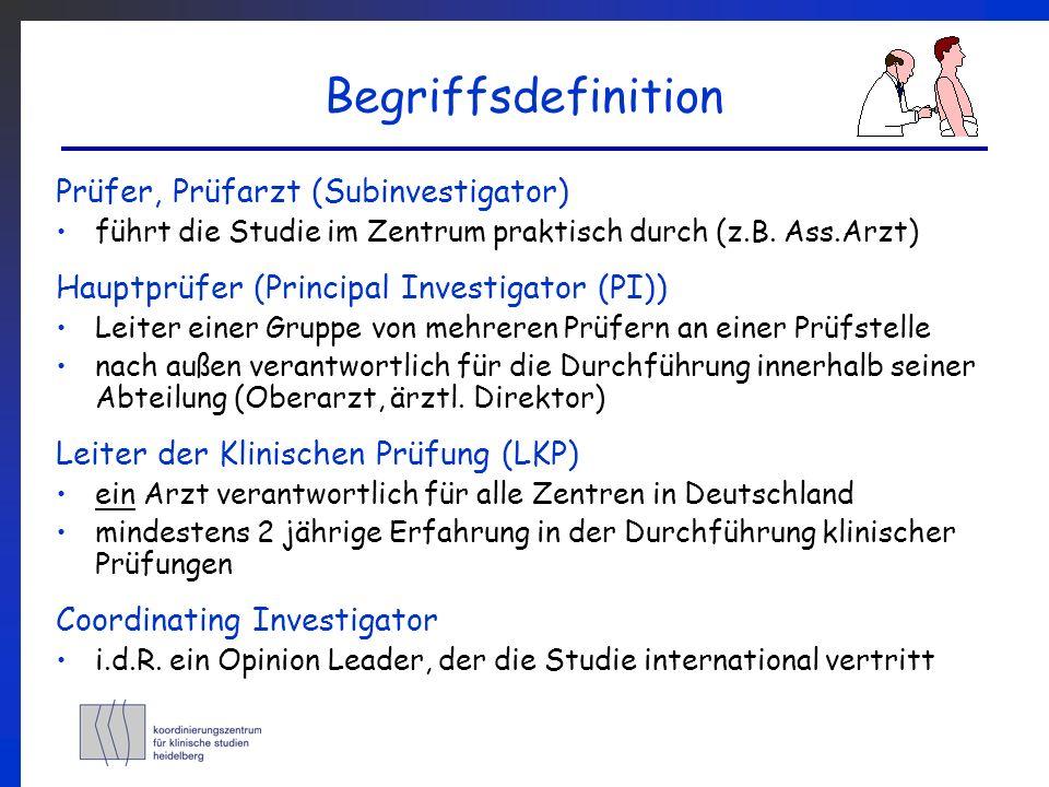Begriffsdefinition Prüfer, Prüfarzt (Subinvestigator) führt die Studie im Zentrum praktisch durch (z.B. Ass.Arzt) Hauptprüfer (Principal Investigator