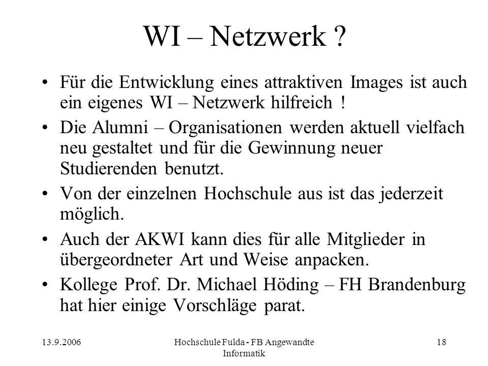 13.9.2006Hochschule Fulda - FB Angewandte Informatik 18 WI – Netzwerk ? Für die Entwicklung eines attraktiven Images ist auch ein eigenes WI – Netzwer