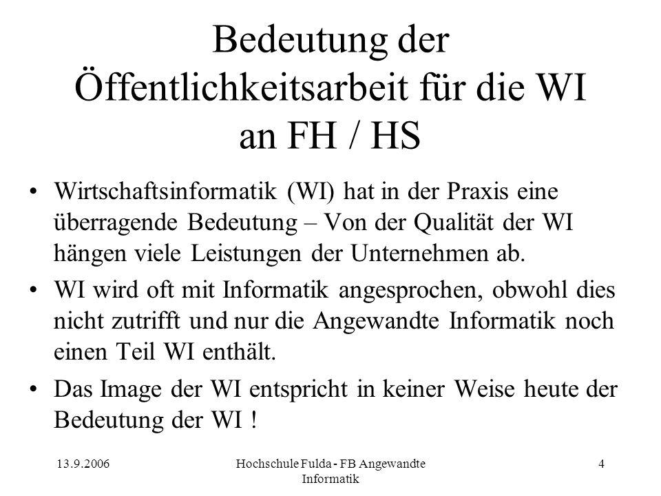 13.9.2006Hochschule Fulda - FB Angewandte Informatik 4 Bedeutung der Öffentlichkeitsarbeit für die WI an FH / HS Wirtschaftsinformatik (WI) hat in der