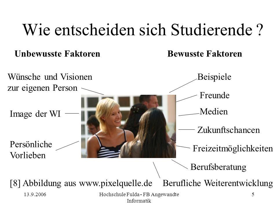 13.9.2006Hochschule Fulda - FB Angewandte Informatik 5 Wie entscheiden sich Studierende ? Freizeitmöglichkeiten Berufliche Weiterentwicklung Image der