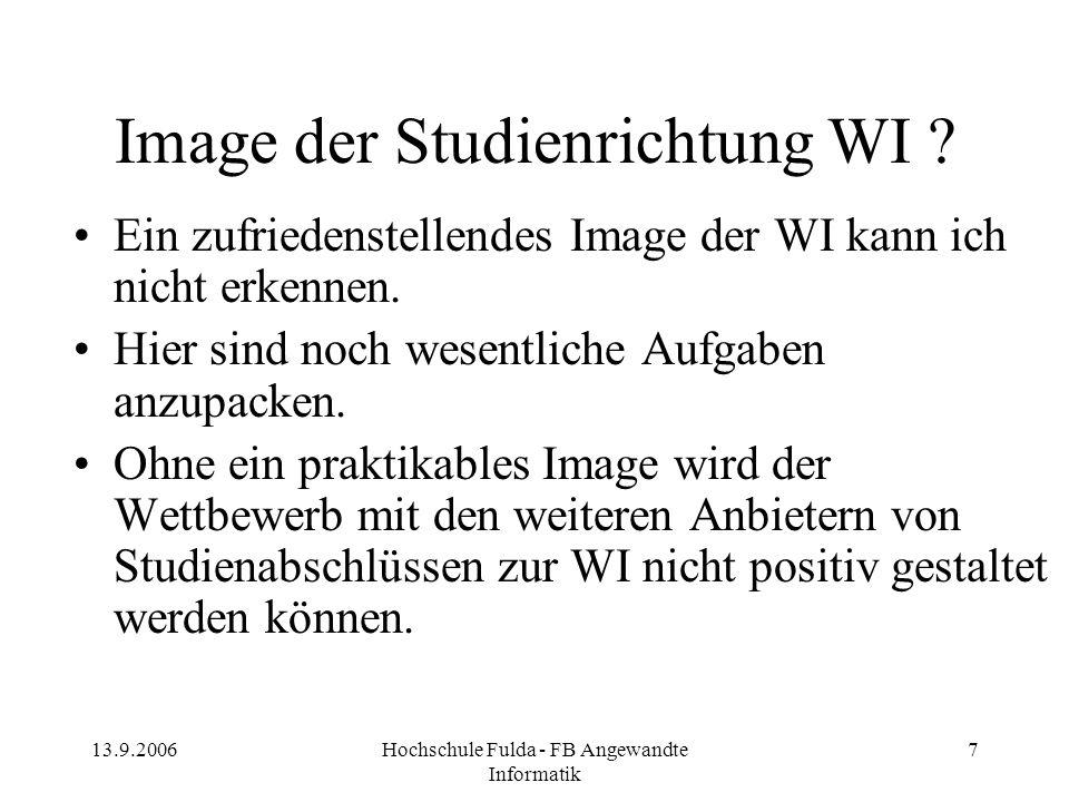 13.9.2006Hochschule Fulda - FB Angewandte Informatik 7 Image der Studienrichtung WI ? Ein zufriedenstellendes Image der WI kann ich nicht erkennen. Hi