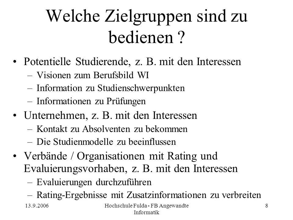 13.9.2006Hochschule Fulda - FB Angewandte Informatik 8 Welche Zielgruppen sind zu bedienen ? Potentielle Studierende, z. B. mit den Interessen –Vision