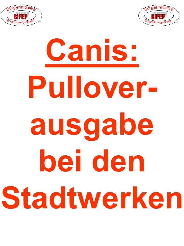 Canis: Pullover- ausgabe bei den Stadtwerken