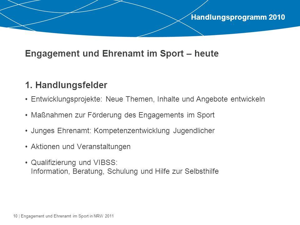 10 | Engagement und Ehrenamt im Sport in NRW 2011 1. Handlungsfelder Entwicklungsprojekte: Neue Themen, Inhalte und Angebote entwickeln Maßnahmen zur