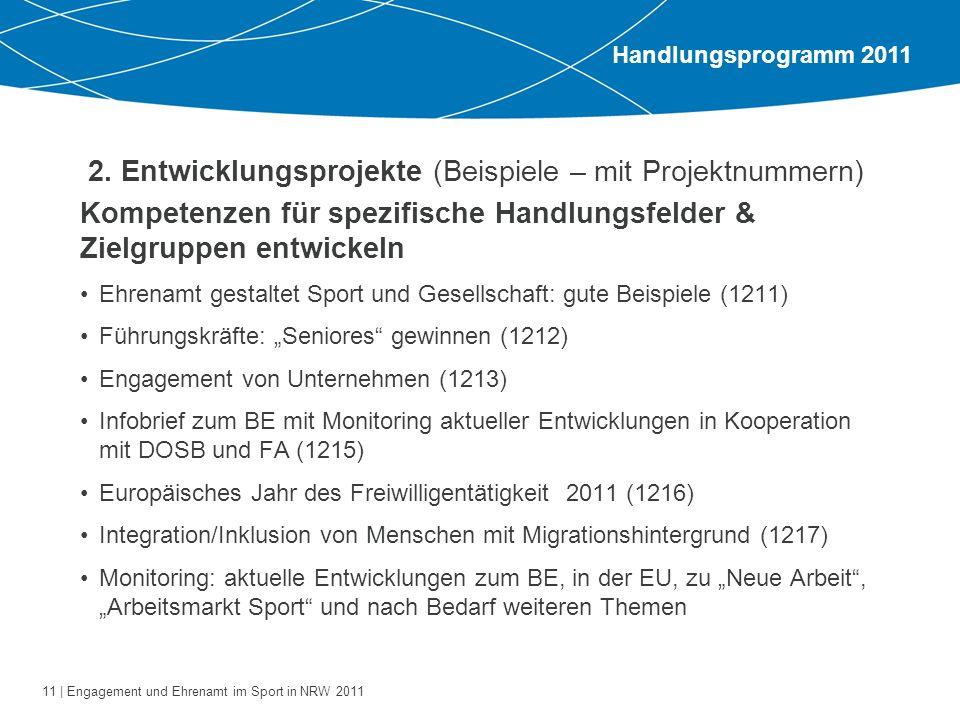 11 | Engagement und Ehrenamt im Sport in NRW 2011 2. Entwicklungsprojekte (Beispiele – mit Projektnummern) Kompetenzen für spezifische Handlungsfelder